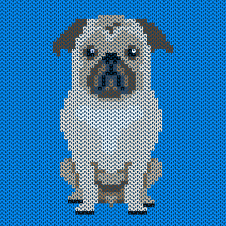 satchel: Vector knitted dog pattern.Pug-dog on blue background. Illustration for sweater, pullover, slip-over, wooly, bag, satchel, carrier bag.