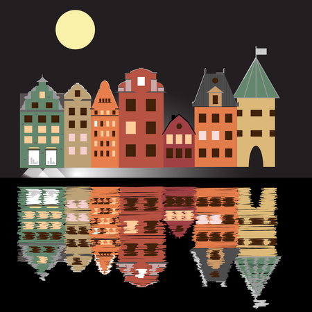 Night vector illustration poster with houses, moon and reflection in water. Old buildings in city. A cartoon style quay with brownstone houses. Illustration