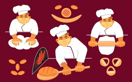Happy bakers making bread.Loaf, bread, pizza, patty. Hand drawn in cartoon style.
