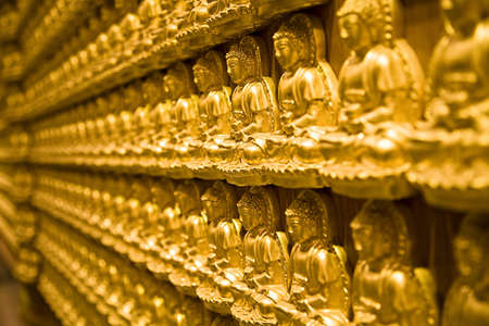 chiness: temple wall of chiness buddha religious in bangkok