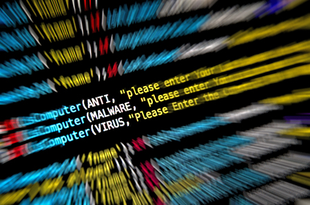 Computer Mal ware and virus attack and desktop of source code and abstract technology background, Developer and programming with coding