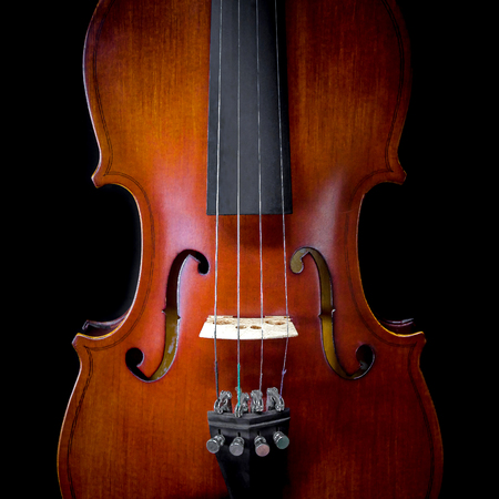 baroque: The violin on black background for isolated with clipping path, Close up of violin on black background for cut of, Top view of violin musical for isolated
