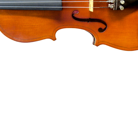 baroque: The violin on white background for isolated with clipping path, Close up of violin on white background for cut of, Top view of violin musical for isolated Stock Photo