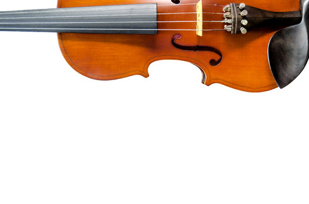 cellos: The violin on white background for isolated with clipping path, Close up of violin on white background for cut of, Top view of violin musical for isolated Stock Photo