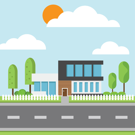 A modern houses with tree and clouds and along the roads, modern building and architecture along the roads, flat home vector illustration.