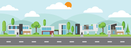 Landscape of modern houses with trees along the road icon. Vectores