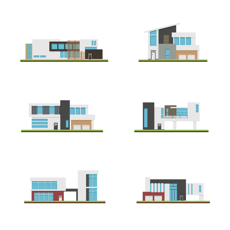 Set of home and modern houses, Modern building and architecture, Collection of home vector illustration