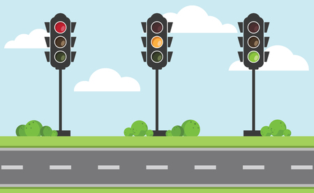 Set of traffic light signal with red, yellow and green color on the road with blue sky and cloud, Flat design and vector of traffic light icon Illustration