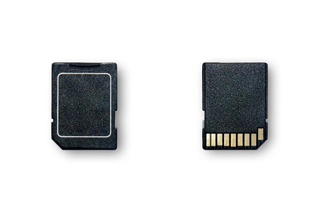 Secure Digital Card is the equipment that use for store data, SD memory card use to storage information on white background for isolated, The devices for transfer and backup data with clipping path.