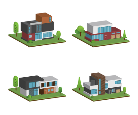 Set of isometric four houses and modern houses design, 3D modern building and architecture with ground, Vector collection of 3D home illustration on white background.