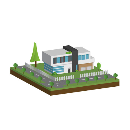 3D modern houses and environment with tree, fence and roads, Isometric of modern building and architecture along with the roads and tree, Flat home vector illustration. Vectores