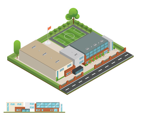 3D modern office or school building and environment with tree, fence and roads, Isometric of university or modern building and architecture, Flat office, school and university vector illustration.