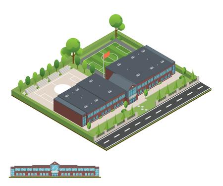 3D moderne kantoor- of schoolgebouw en omgeving met boom, hek en wegen, Isometrisch van universiteit of modern gebouw en architectuur, Flat office, school en universiteit vectorillustratie. Vector Illustratie
