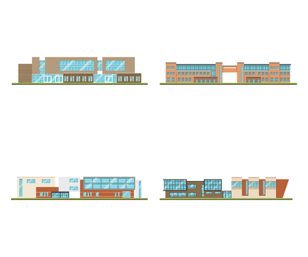 Set of modern office or school building and environment with tree, fence and roads, Isometric of university or modern building and architecture, Flat office, school and university vector illustration.