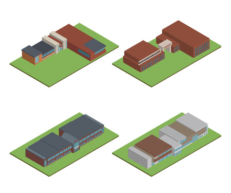 Set of 3D modern office or school building and environment with tree, fence and roads, Isometric of university or modern building and architecture, Flat office, school, university vector illustration.