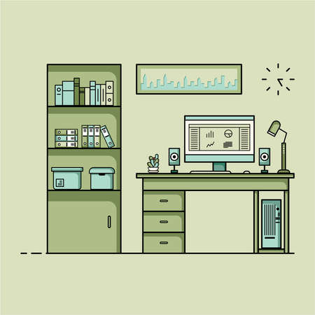 Working table flat design, Concept of working desk interior with furniture. Work room with computer, desktop, table, chair, book, and stationary equipment. Work from home or work at an office. Cartoon illustration of a working space with furniture.