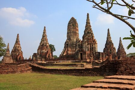 Pagoda  in  Chaiwatthanaram Temple in Ayutthaya of thailand photo