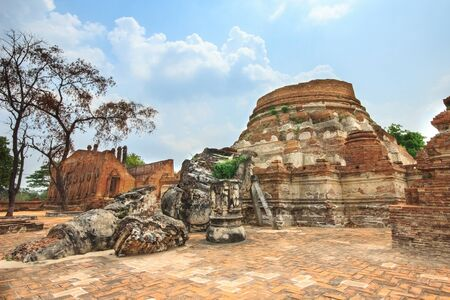 ruins of the ancient pagoda in Ayutthaya photo