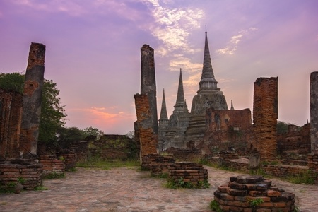 Old palaces and temples in Ayutthaya of Thailand