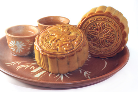 mooncake on a plate ready to be eaten photo