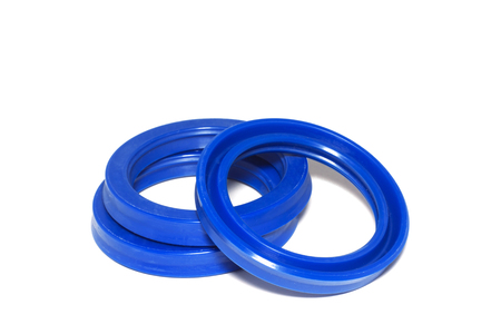 Oil Seal blue chemical resistance for Industrial. Stock Photo