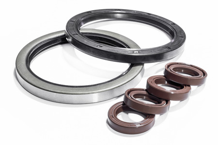 Oil seals edge steel for Industrial and objects in industry on white background.