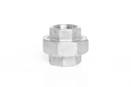 Stainless steel pipe fittings for plumbing for industrial on white background.