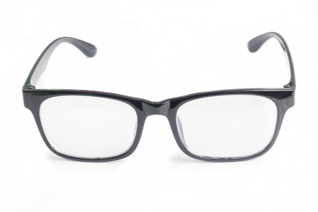 rimmed: Black glasses on white background.