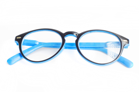 oculista: Blue glasses on white background. Foto de archivo