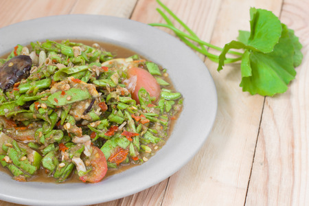 Lentils salad Thai cuisine spicy delicious, Som Tam. Stock Photo