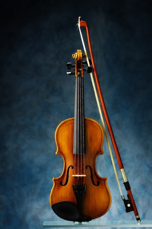 violin on blue background