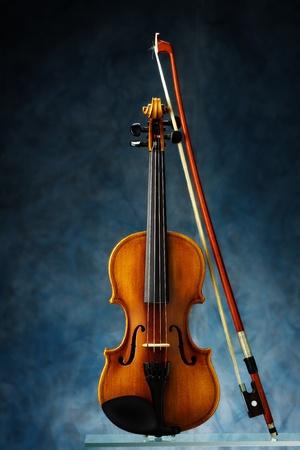 violin on blue background Stock Photo - 12020022
