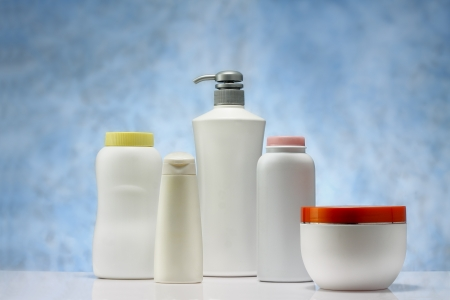 a group of beauty hygiene container on sky blue background Stock Photo