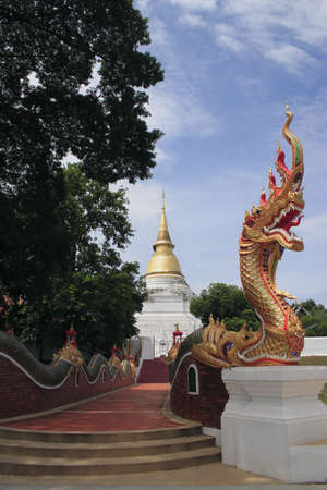 golden naga with tree,in front of thai temple