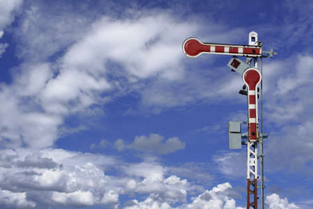 traffic train sign on blue sky  with cloud Stock Photo