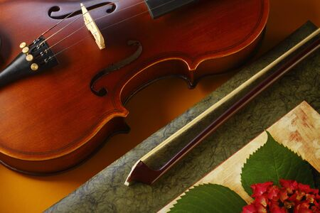 violin and bow with book on yellow background photo