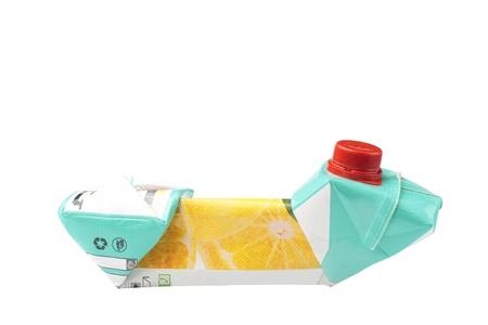 crushed drink juice box isolated on white Stock Photo