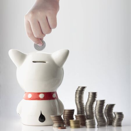 a hand saving coin in piggy bank on white background Stock Photo