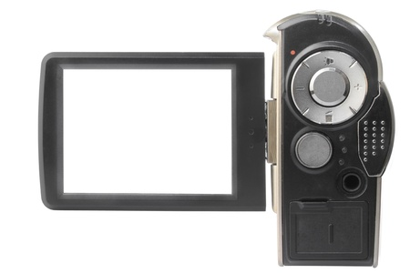 camcorder: camcorders blank LCD screen isolated on white