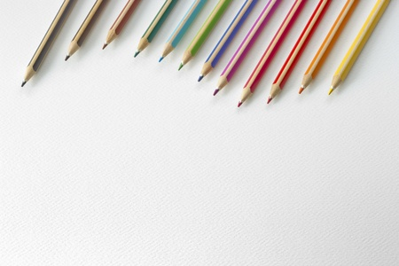 closeup Colors pencils as background with space for text photo