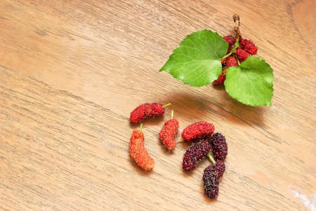 Fresh mulberry on wooden background