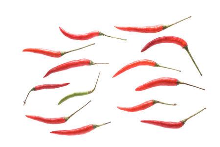 red chili isolated on white background,Chili Padi, Birds Eye Chili, Bird Chili, Thai pepper Stock Photo