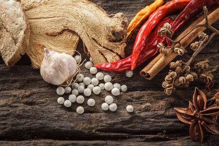 Cooking ingredients on wooden background,spice photo
