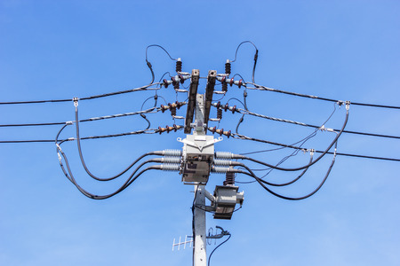 wiring: Pile of electrical wiring on blue sky.