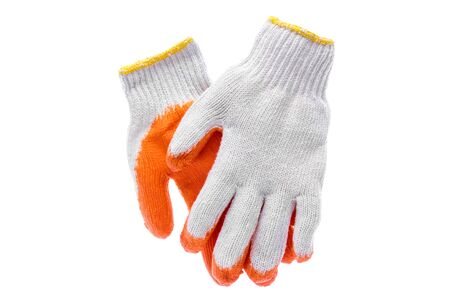 white work: Work gloves isolated on white background with clipping path. Stock Photo