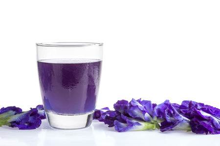 Butterfly pea juice for drink on white background Stock Photo