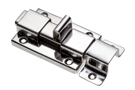Chrome latch isolated on white background.with clipping path. Stock Photo