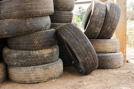 Stack  of old car tires for rubber recycling.