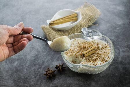 Rice pudding and cinnamon