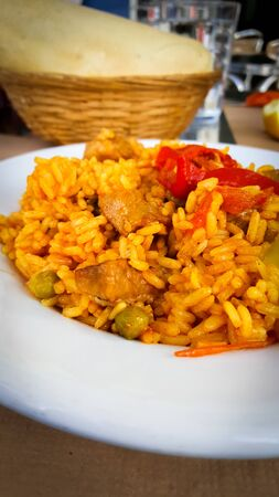 Typical Spanish dish Paella rice from Valencia